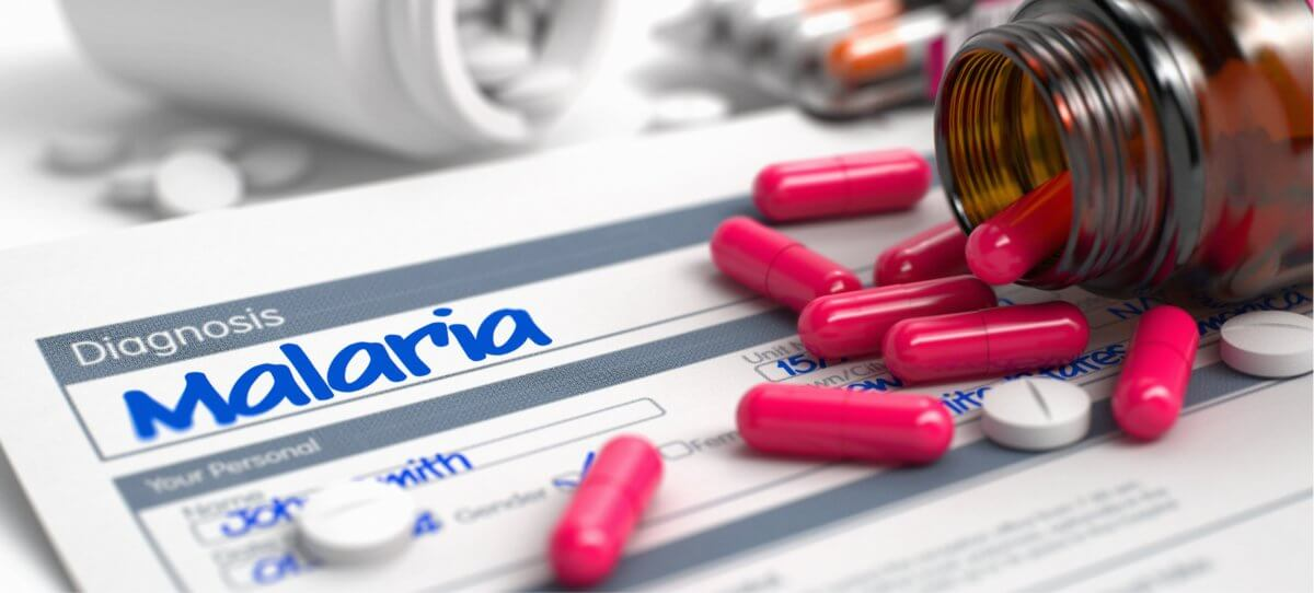 "A form with the word ""Malaria"" appears next to a pills."